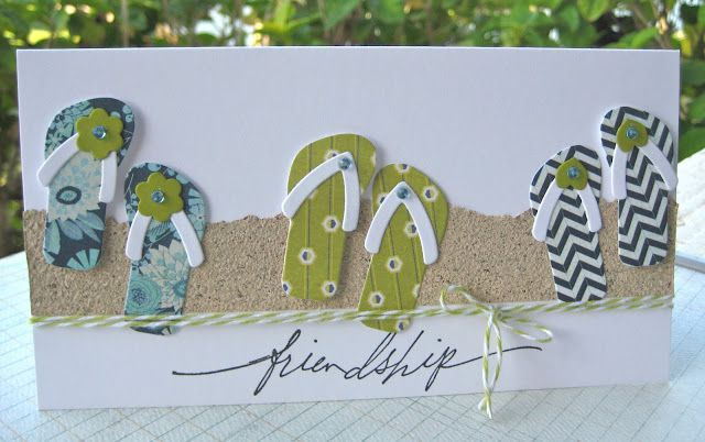 cute handmade beach card by Wahine Inks ... used die from Paper Trey Ink to make slippahs/flip-flops ... patterned papers ..,. looks like sand paper or maybe real sand ,,,