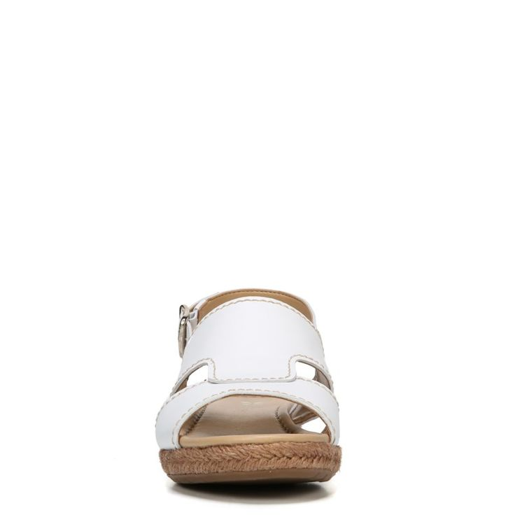 Naturalizer Women's Reese Narrow/Medium/Wide Espadrille Wedge Sandals (White Leather) - 10.0 M