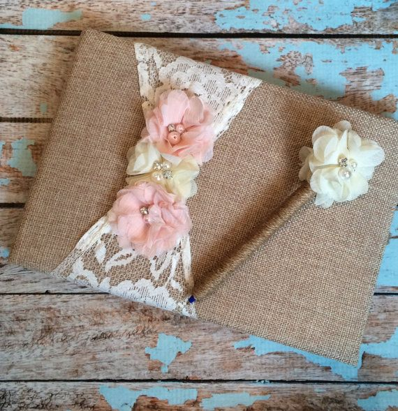 Burlap Wedding Guest book and pen  , custom guest book / You PICK COLoRS /  name book ,  rustic guest book