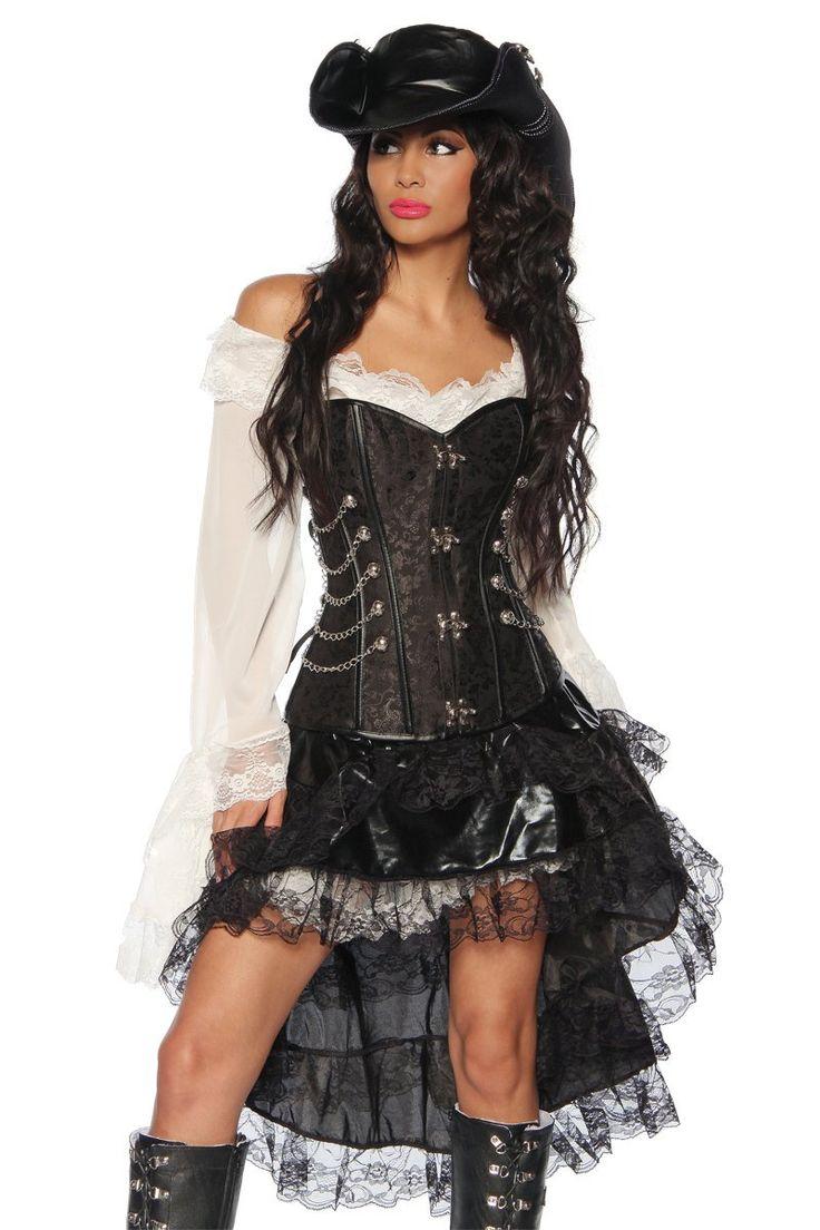 Komplett-Kostüm Steampunk-Corsage Piraten Piratin Kleid Rock Volant (Schwarz/Weiß, Gr. 2XL = 42)