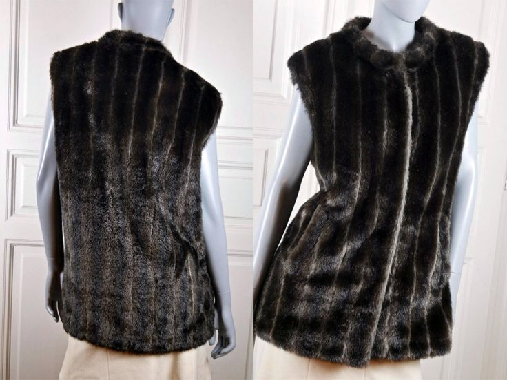 Faux Fur Vest, Women's Vintage Fake Fur Waistcoat, European Mink Fun Fur Vest, Imitation Fur Sleeveless Jacket: 10/12 US, 14/16 UK by YouLookAmazing on Etsy