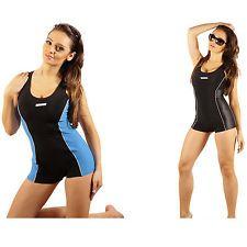 SK0028 STANTEKS Damen Badeanzug mit Bein Schwimmerrücken Schwimmanzug Hotpants
