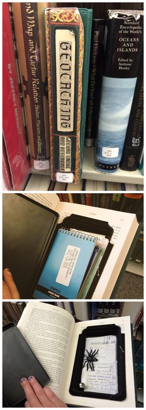 Very cool library geocaching in Quincy, Illinois.  Nicely done.  (pics from Twitter combined by I.B. Geocaching & pinned to Creative Geocache Containers - pinterest.com/ibgeocaching/creative-geocache-containers/)  #IBGCp