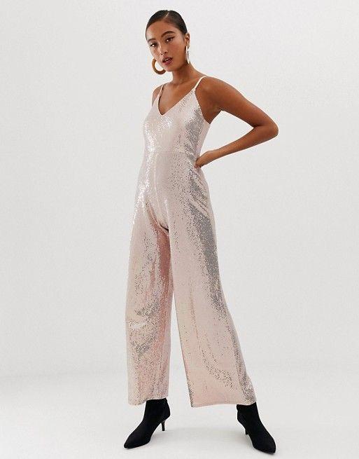 eca56f92 Miss Selfridge wide leg jumpsuit in gold sequin in 2019   dresses   Jumpsuit,  Gold sequins, Sequins