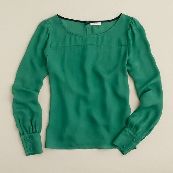 Talitha blouse (4.175 RUB) ❤ liked on Polyvore featuring tops, blouses, shirts, j.crew, green, shirt blouse, green button shirt, long sleeve blouse, silk shirt and green top