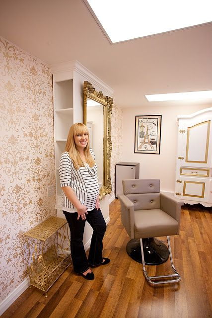 home salon love the mirror and wall set up storage