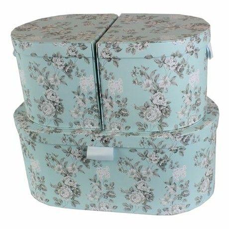 JVL Oval Floral Jewellery Bedroom Make-Up Storage Boxes, Set of 3