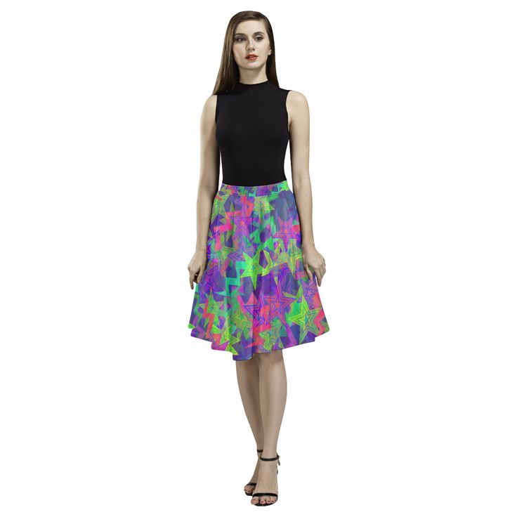 Purple Shooting Stars Melete Pleated Midi Skirt (Model D15)