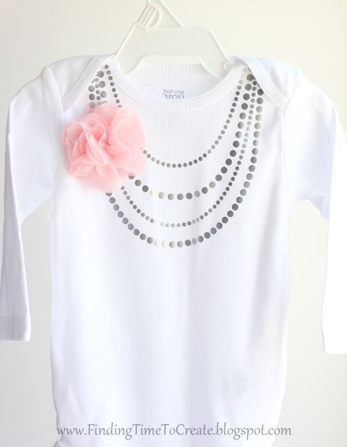 Baby Necklace Onesie With Heat Transfer Tutorial And Free