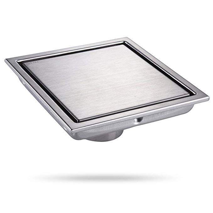 DESFAU Square Shower Drain 6-Inch,Tile Insert Square Drain ...