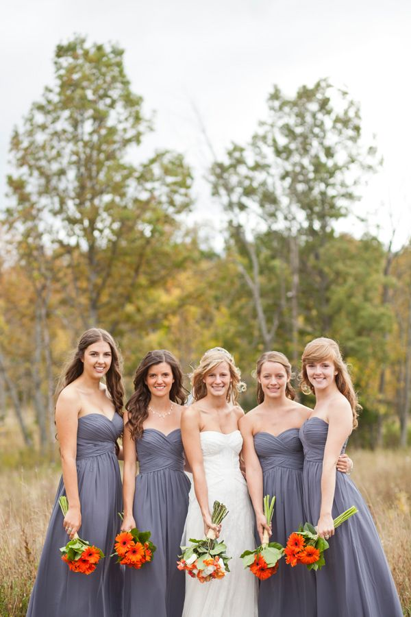 long gray bridesmaid dresses #graywedding http://www.weddingchicks.com/2013/11/22/ontario-handcrafted-wedding/