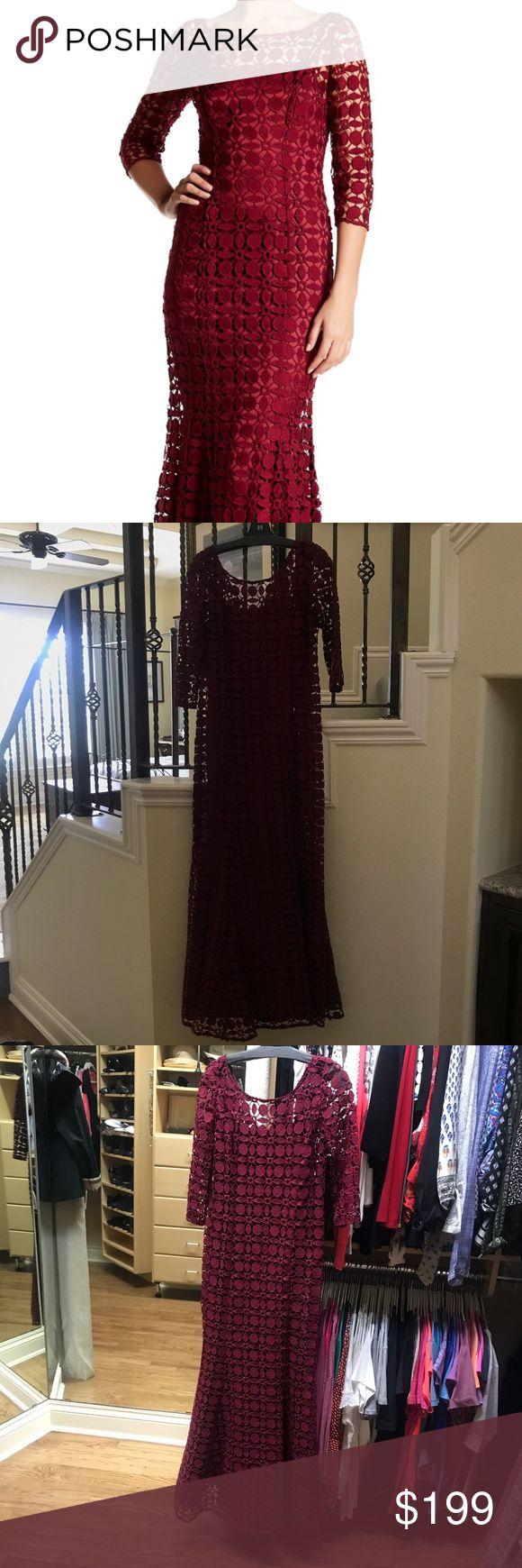 Kay Unger Crochet Dress 3/4 Sleeve Crochet Lace Dress Kay Unger Dresses Maxi