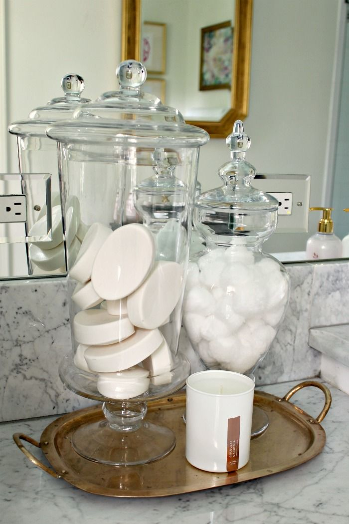 Guest Bathroom Refresh Final Reveal Southern Spa At Home Guest Bathroom Apothecary Jars Bathroom Apothecary Bathroom
