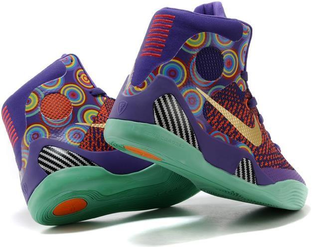 Womens Nike Kobe 9 Shoes Purple Gold Yellow Rainbow0
