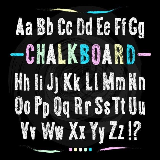 Chalkboard letters, sketch vectors