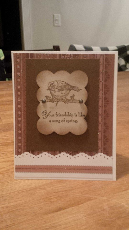 used heat embossing for bird and saying , Spring Song stamp set :)