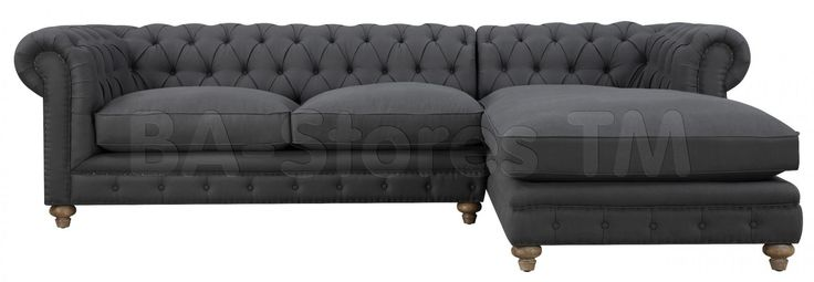 Oxford Grey Linen Sectional Sofa | Sectional Sofas TOV-S36-Sec-L/3