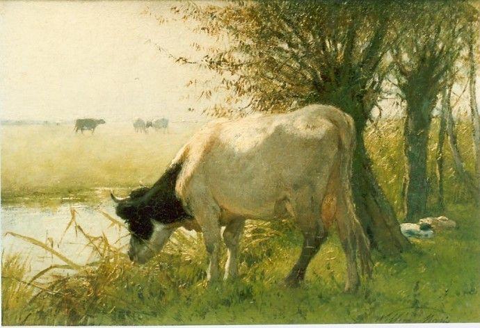 Willem Maris (Den Haag 1844-1910) Koe aan de waterkant - Kunsthandel Simonis en Buunk, Ede (Nederland).