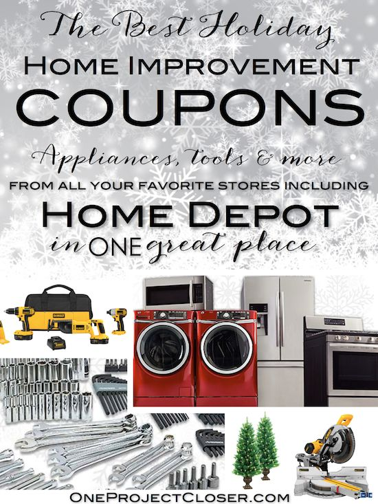Now I'm ready to shop!  THE BEST holiday home improvement coupons, just in time for Black Friday and Cyber Monday shopping! Coupons from Home Depot, AJ Madison, Sears, and more.