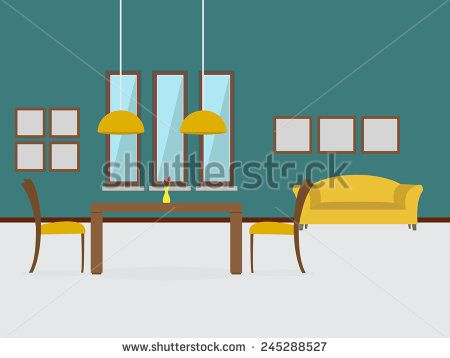 Modern dining room interior with sofa
