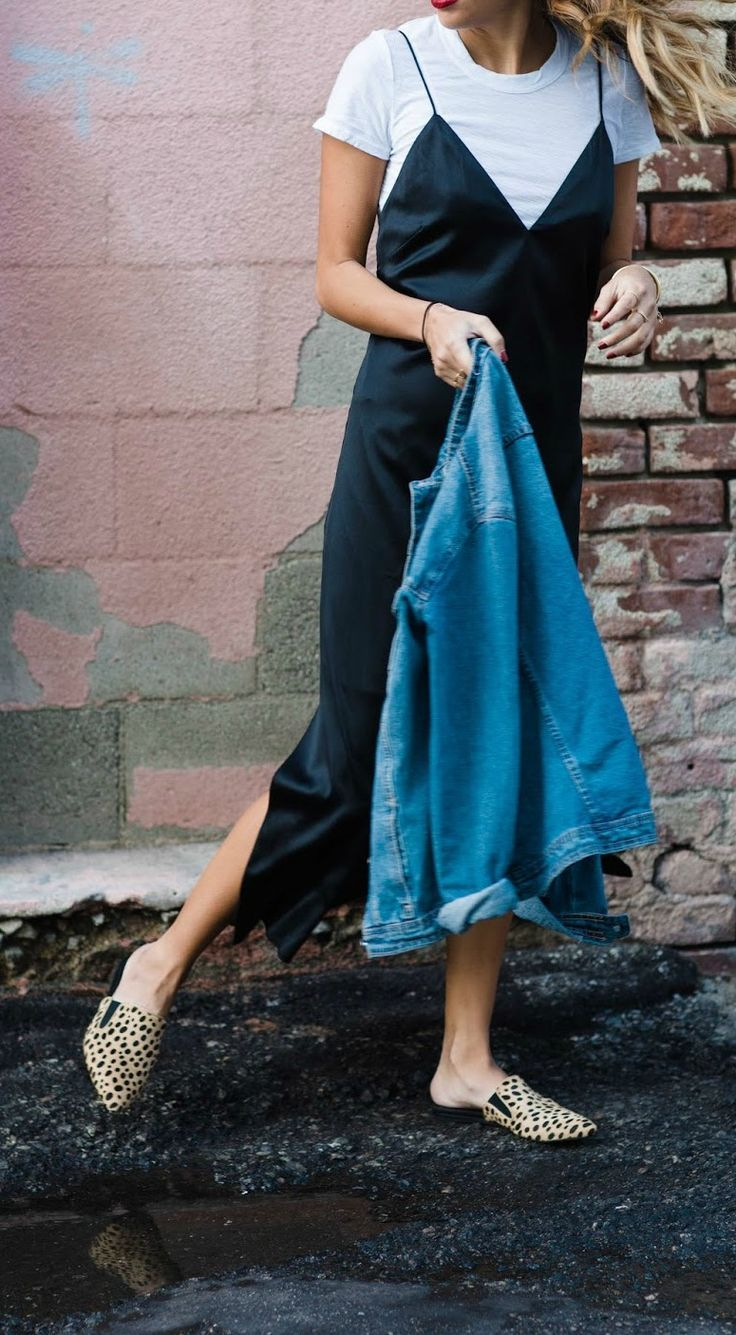 how to wear a slip dress with t-shirt