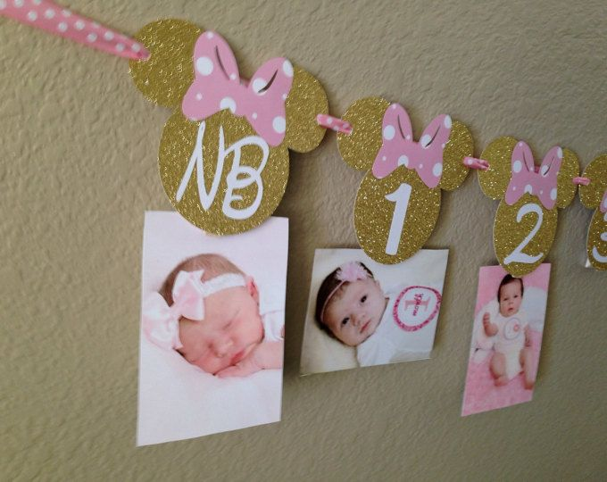 Minnie Mouse 12 month photo banner, Photo banner, Pink and Gold Minnie Mouse Party, Minnie Mouse Birthday, Minnie Mouse Banner,