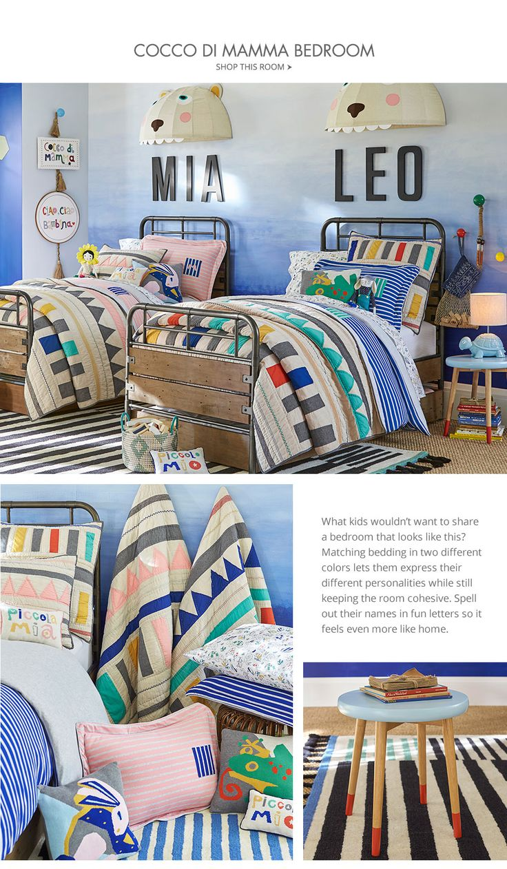 Boy and Girl Shared Room. Missoni + Pottery Barn Kids.
