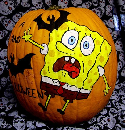 30 Funny Faced Halloween Pumpkin Drawings And Painting: funny pumpkin painting ideas