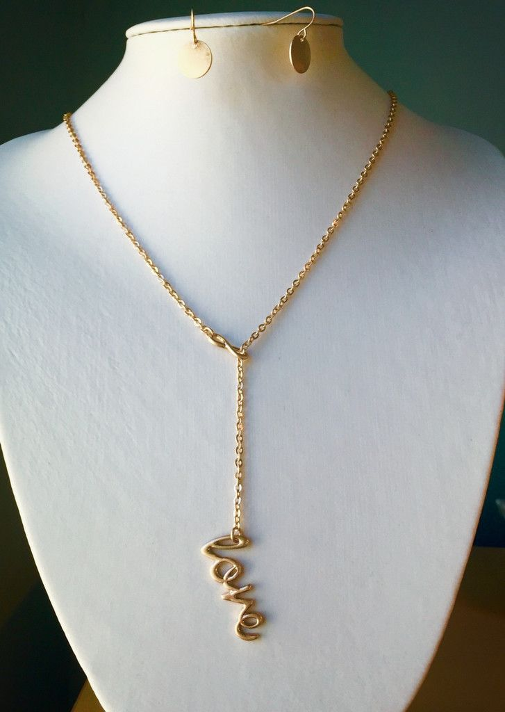 Celebrity Inspired Gold Love Handwriting Infinity Pendant Necklace and Earring S...