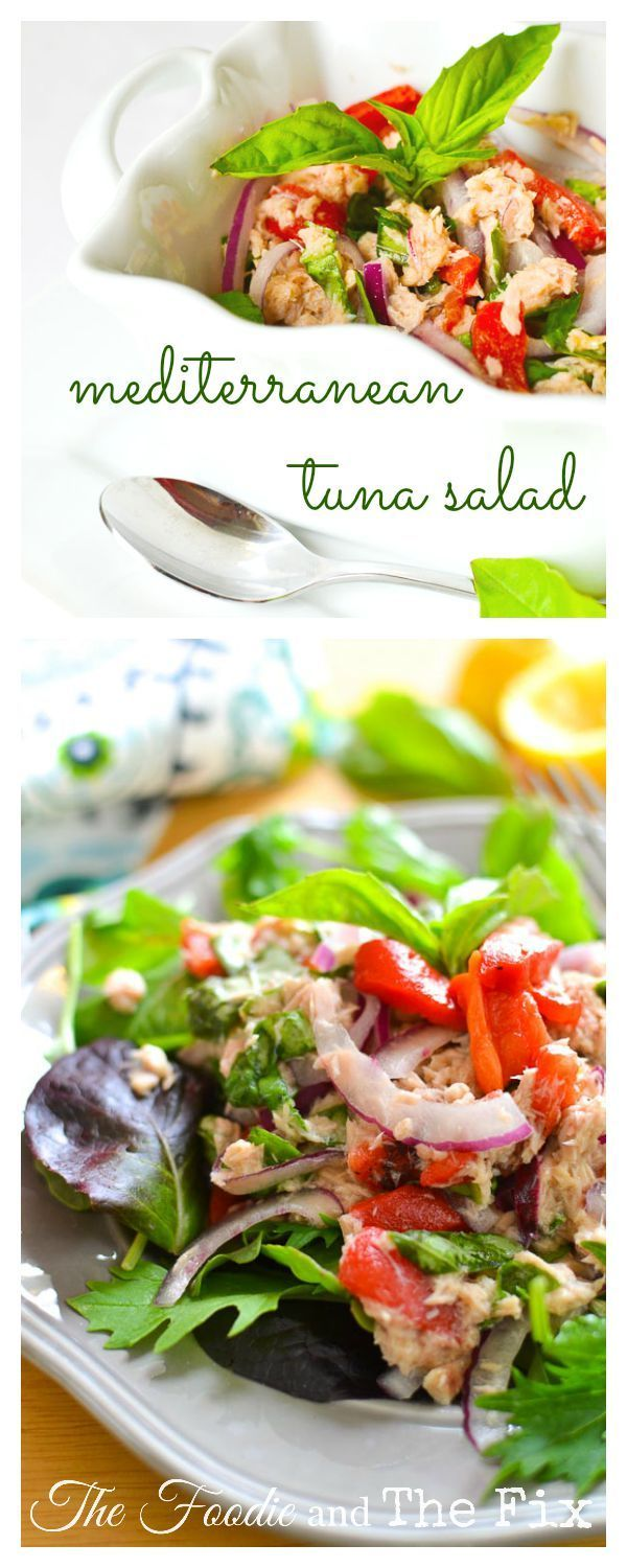 {No Mayo!} Mediterranean Tuna Salad - The lemon dressing on this healthy, 21 Day Fix approved tuna salad makes it as bright in flavor as it is in color! Perfect as a sandwich, piled on top of greens or stuffed into a pita!