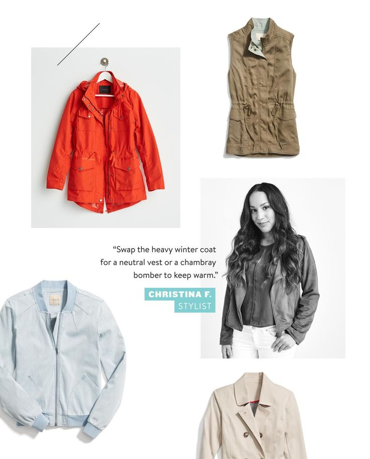 Swap the heavy winter coat for a neutral vest or a chambray bomber to keep warm.
