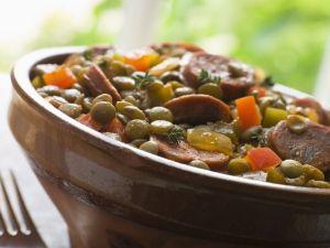 Receitas Saudáveis - Lentilha com calabresa e bacon