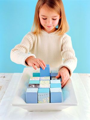 DIY decoupaged blocks- decorative AND fun for the kids and guests (and mom and dad). :-)