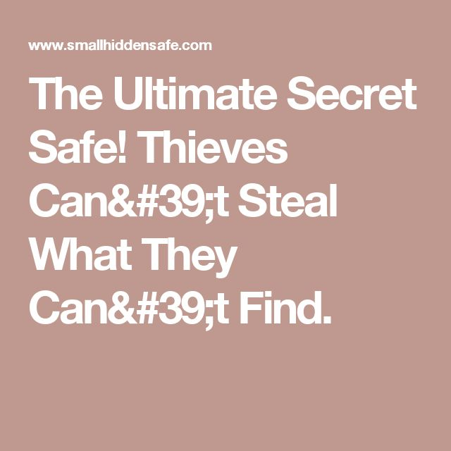 The Ultimate Secret Safe! Thieves Can't Steal What They Can't Find.