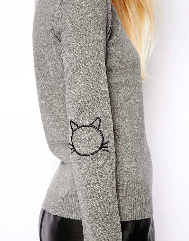 Imagen 3 de Jersey con coderas con diseño de gato de ASOS