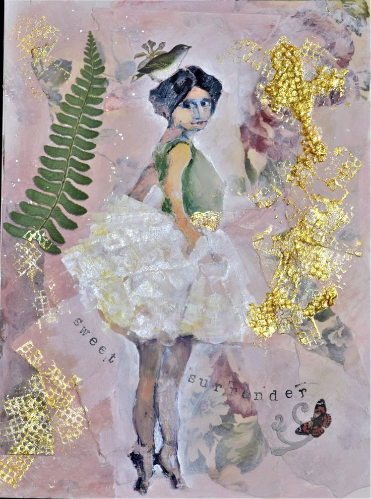 """You would think that the dancer was """"cut &pasted"""" but she is hand painted over the wallpaper background.  She is 9x12 on linen canvas paper.  (SOLD)"""