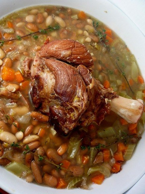 Ham hock soup with beans -- just like Mama made, though she didn't use a recipe.  I, however, need one.