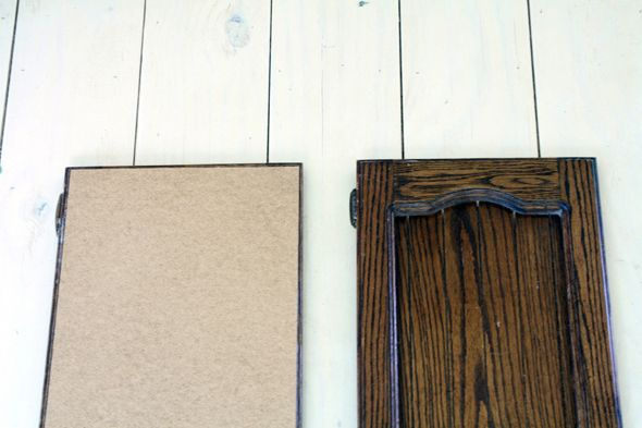 turn any style of cabinets into shaker style with this thin board and then molding for the edges.