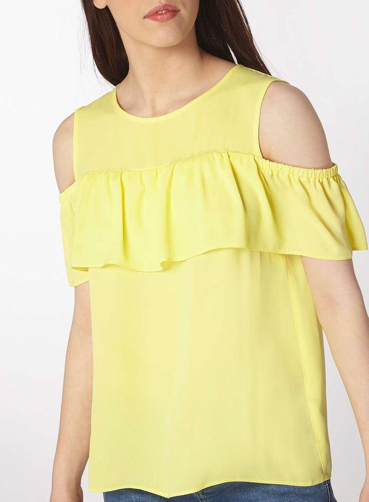 Womens Petite Yellow Ruffle Top- Yellow