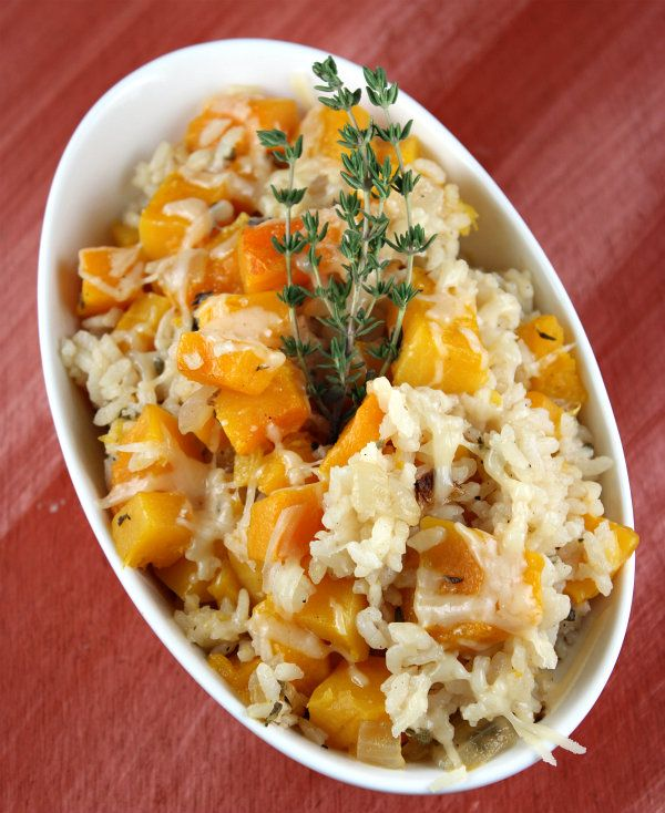 Delicious!!! baked rice with butternut squash.  Added chicken and topped with goat cheese instead of Parmesan.  Serve with sautéed chard or kale.