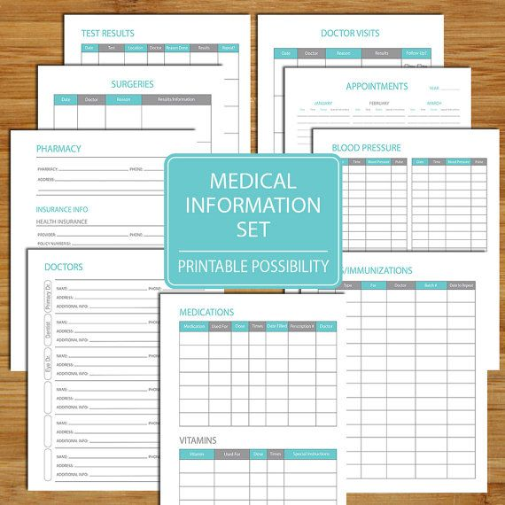 Medical Information Packet Printable Set by PrintablePossibility
