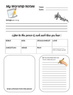 Favorite sermon note worksheet for kids - these were great!  Used these with our girls (ages 7 & 9) and they asked to do it again next week!