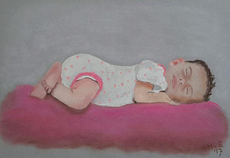 Baby uit het HEMA foldertje. De volkomen rust sprak me zo aan... Techniek: softpastel op grijs papier.