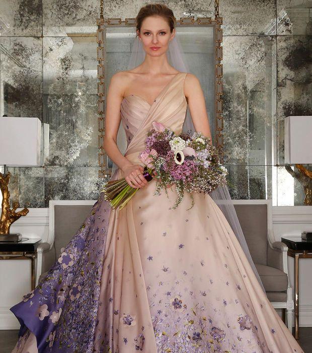 Robe de mariée 2017 - Romona Keveza, robe multicolore avec imprimés