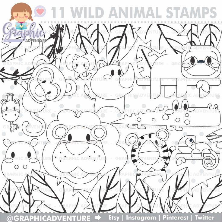 75%OFF - Animal Stamp, COMMERCIAL USE, Digi Stamp, Digital Image, Party Digistamp, Animal Coloring Page, Animal Graphic, Animal Clipart