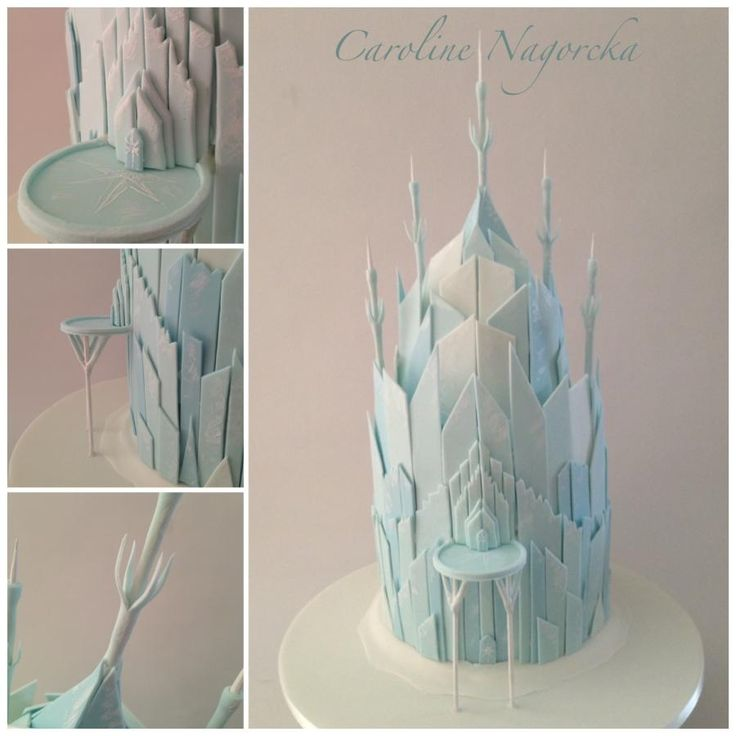 """Frozen Castle My first frozen cake. 12"""" high in cake, 16"""" high to the top point.  Caroline Nagorcka"""