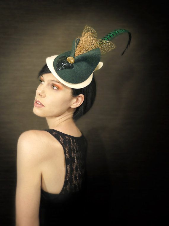 20's Style Cream and Green Felt Fascinator with by pookaqueen, $158.00