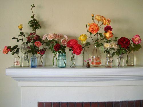 A mantel full of roses.