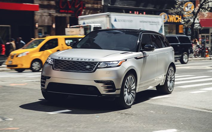 Download wallpapers Range Rover Velar, 2017, 4k, new SUV, silver Velar, New York, streets, USA, British cars, Land Rover