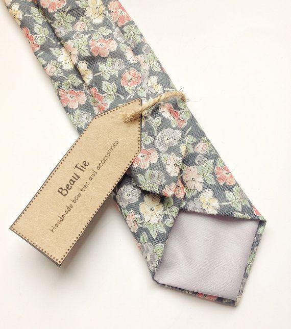 Floral+tie+Mens+ties+mens+skinny+tie+wedding+tie+by+BeauTieUK